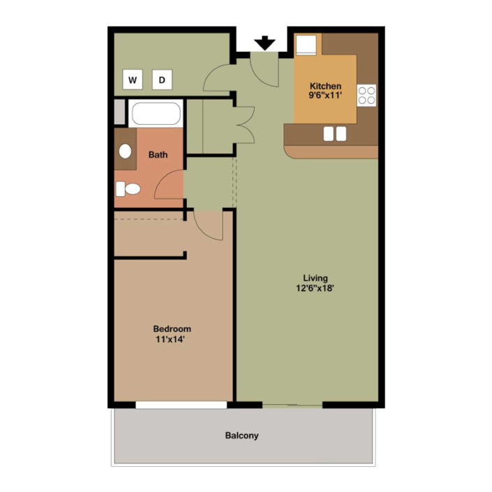 1 Bedroom Apartment Floor Plans Archives - The Overlook on ...