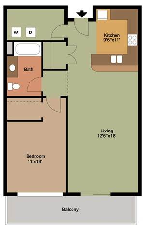 1 Bedroom Apartment Floor Plans Archives - The Overlook on Prospect